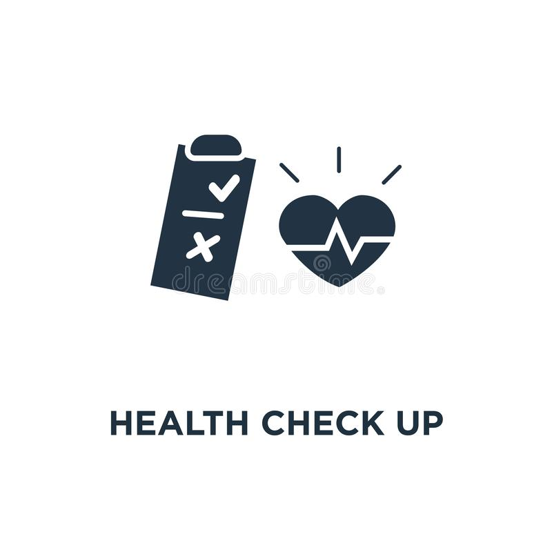 Health check up checklist icon. cardiovascular disease prevention test, hypertension risk concept symbol design, heart diagnostic. Electrocardiography service stock illustration