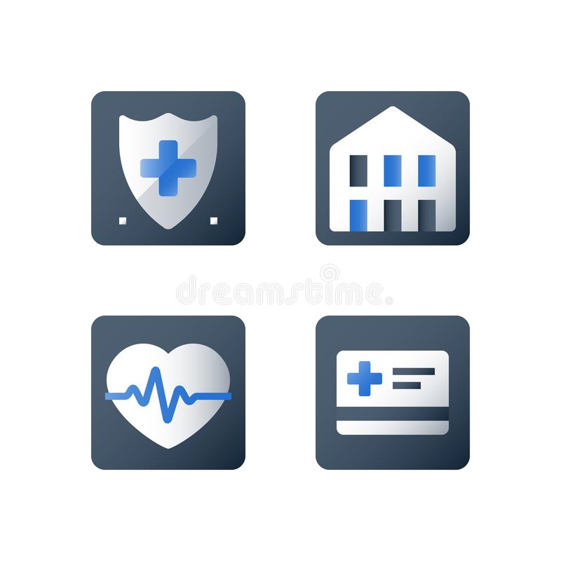Cardiovascular disease diagnosis, stroke prevention, hypertension treatment, health check up, heart pulse trace, medical service. Health check up, heart pulse royalty free illustration