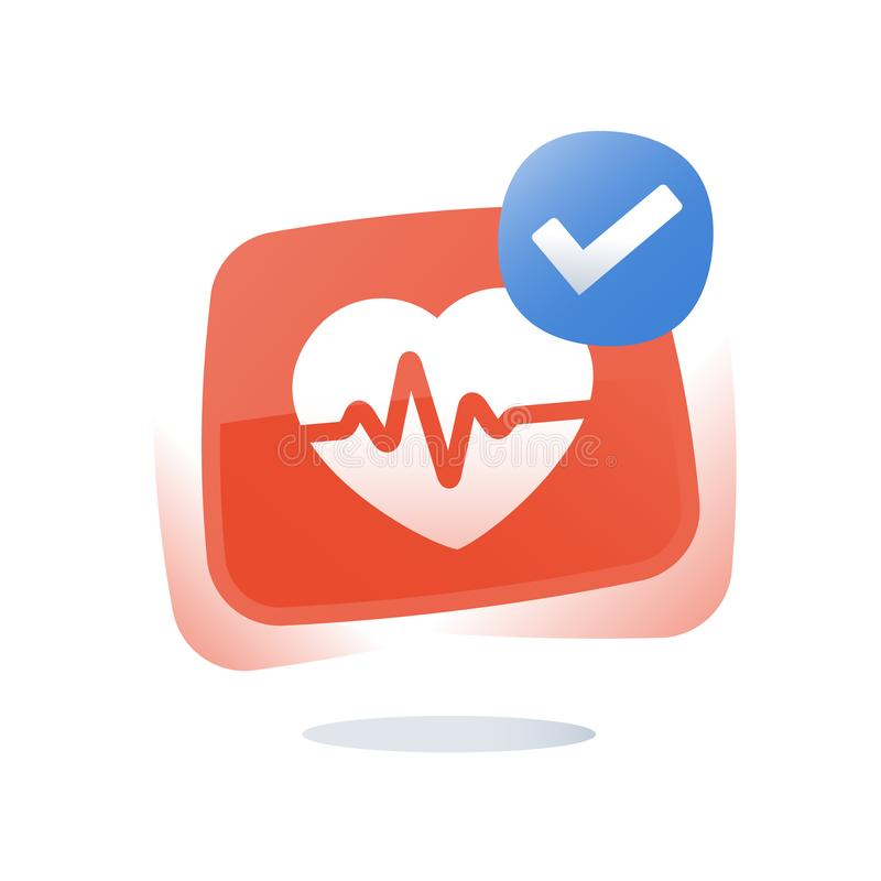 Cardiovascular disease diagnosis, stroke prevention, hypertension treatment, health check up, heart pulse trace, medical service. Health check up, heart pulse stock illustration