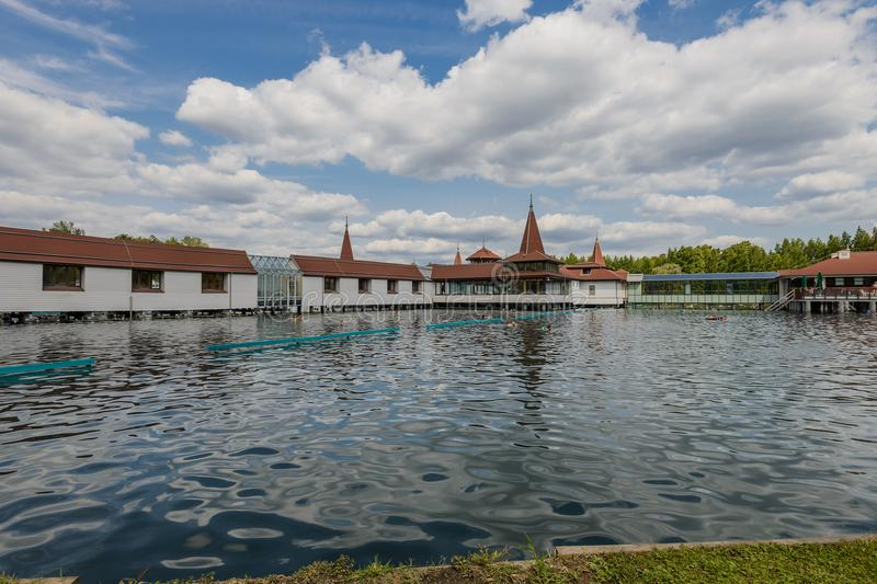 The termal lake Heviz, Hungary. Health complex on the termal lake Heviz, Hungary stock photography