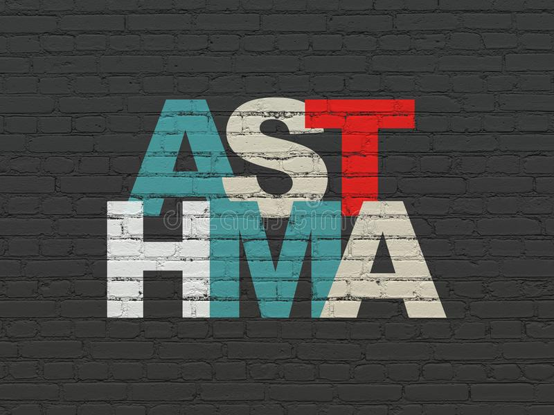 Health concept: Asthma on wall background. Health concept: Painted multicolor text Asthma on Black Brick wall background stock photo