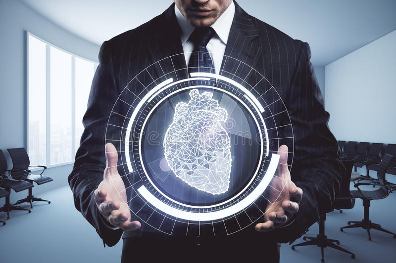 Health concept. Businessman holding abstract digital circle with polygonal heart in interior. Health concept. 3D Rendering stock photography