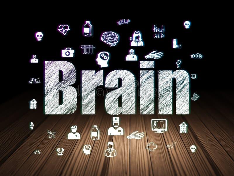 Health concept: Brain in grunge dark room. Health concept: Glowing text Brain, Hand Drawn Medicine Icons in grunge dark room with Wooden Floor, black background royalty free stock photos