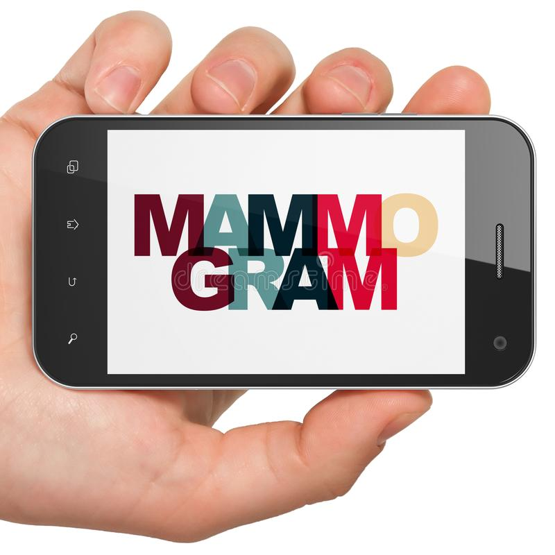 Health concept: Hand Holding Smartphone with Mammogram on display. Health concept: Hand Holding Smartphone with Painted multicolor text Mammogram on display, 3D royalty free stock image