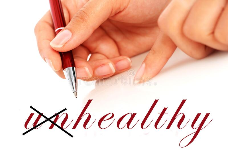 Health concept. Hand is writing word health stock images