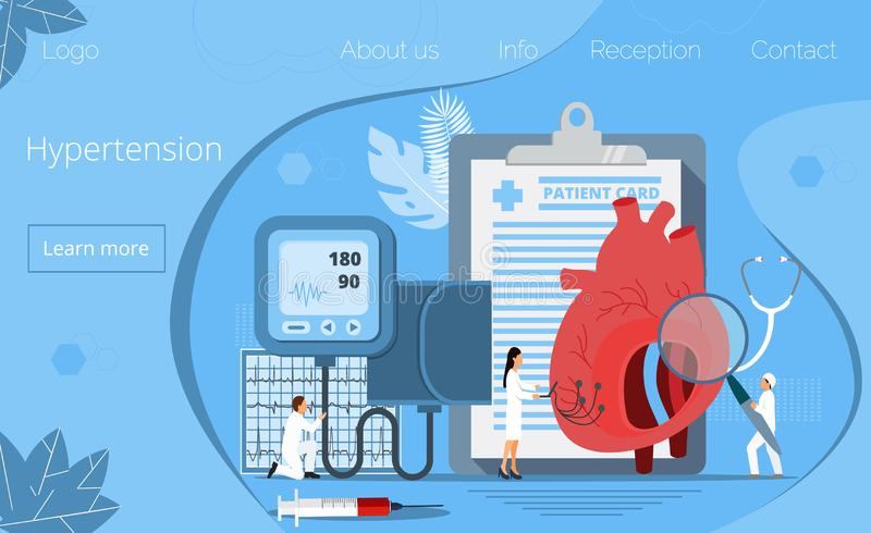 Health concept of hypertension disease tiny doctors. Treat, heart attack. Symptoms and prevention blood pressure health or healthy vector, it is landing page vector illustration