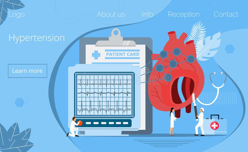 Health concept of hypotension and hypertension disease. Symptoms and prevention blood pressure or healthy  illustration, it is landing page, website, app royalty free illustration