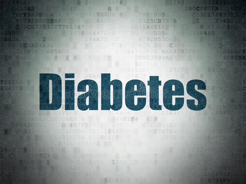 Health concept: Diabetes on Digital Data Paper background. Health concept: Painted blue word Diabetes on Digital Data Paper background royalty free illustration