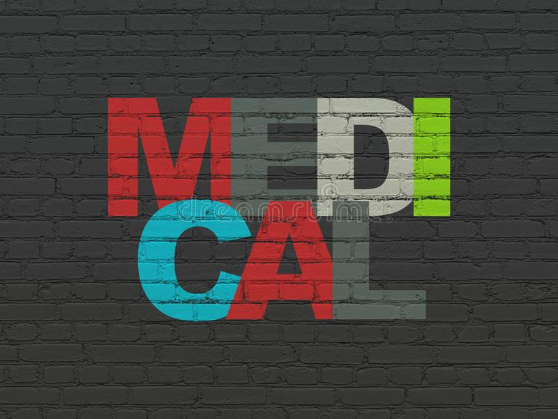 Health concept: Medical on wall background. Health concept: Painted multicolor text Medical on Black Brick wall background royalty free stock photography