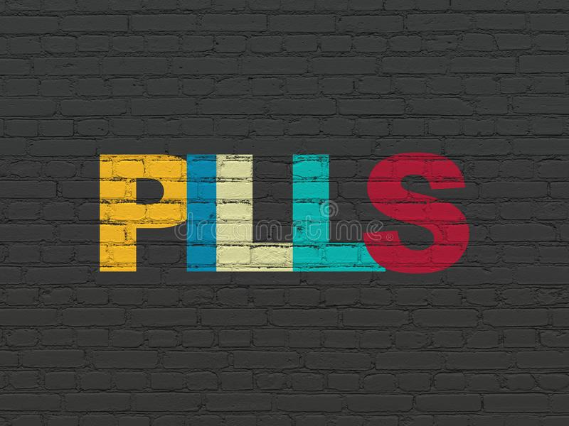 Health concept: Pills on wall background. Health concept: Painted multicolor text Pills on Black Brick wall background stock photos
