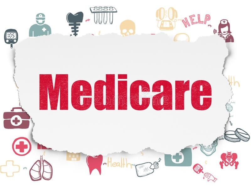 Health concept: Medicare on Torn Paper background. Health concept: Painted red text Medicare on Torn Paper background with Scheme Of Hand Drawn Medicine Icons royalty free illustration