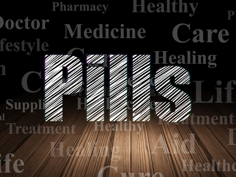 Health concept: Pills in grunge dark room. Health concept: Glowing text Pills in grunge dark room with Wooden Floor, black background with Tag Cloud stock photography
