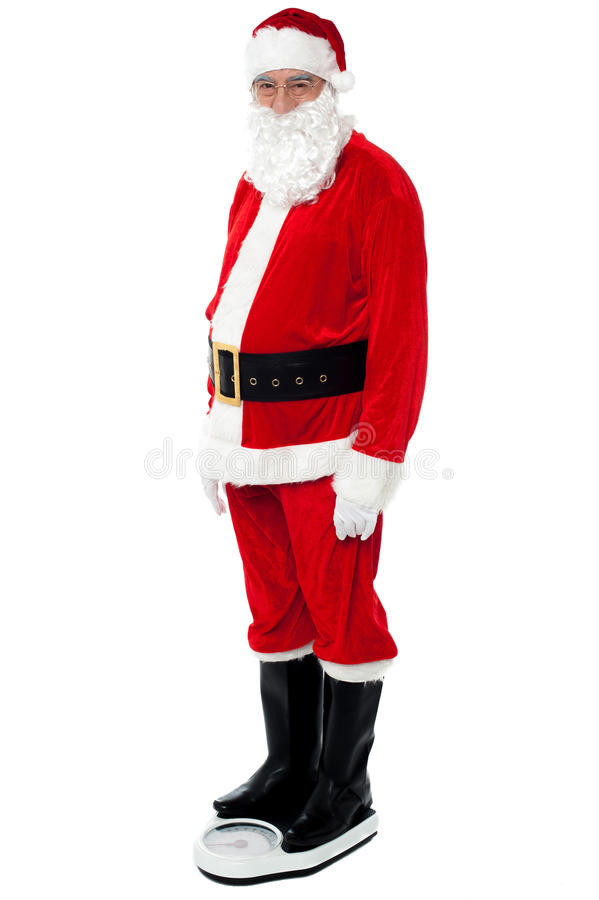 Download Health Conscious Santa Checking His Weight Stock Image - Image of mustache, full: 27837331