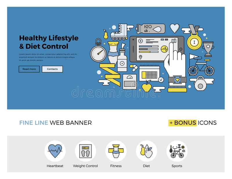 Health control flat line banner. Flat line design of web banner template with outline icons of healthy lifestyle and diet control monitoring with mobile phone royalty free illustration
