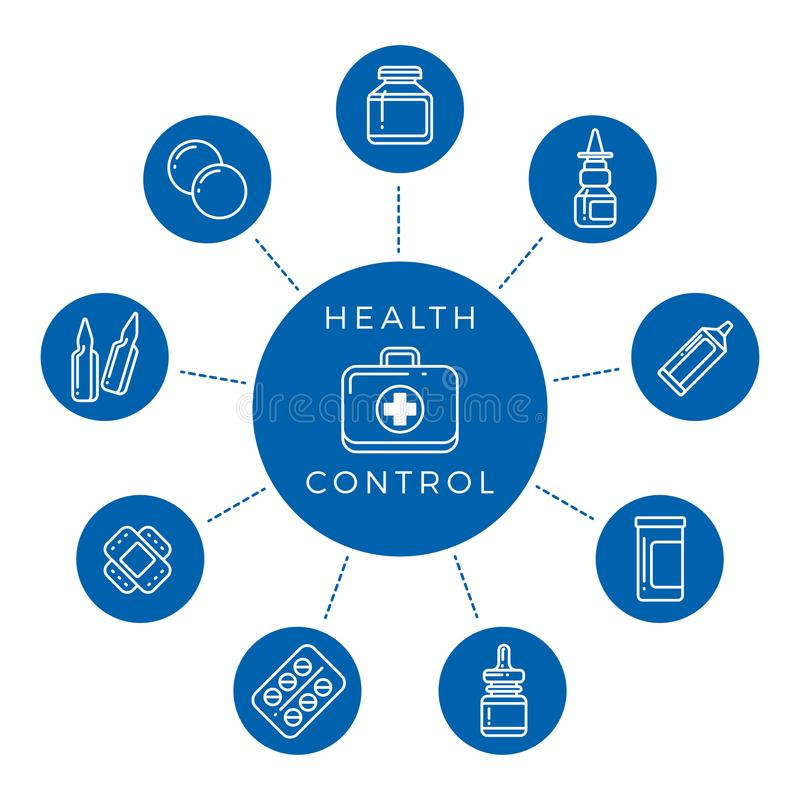 Health control linear icons concept vector illustration