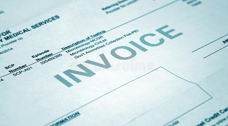 Health cover. Benefits invoice closeup royalty free stock photography