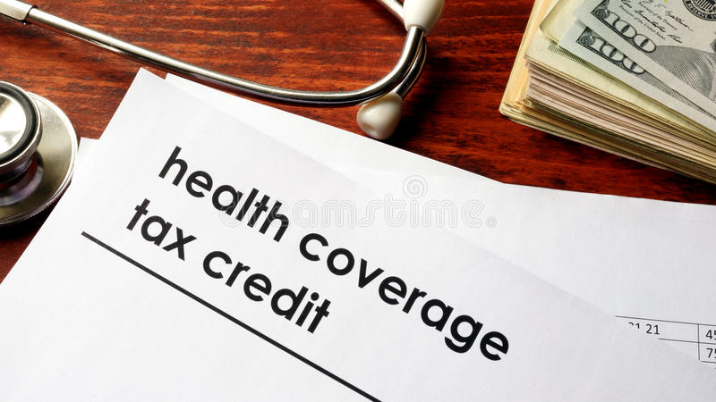 Health coverage tax credit. Document with title health coverage tax credit stock photography