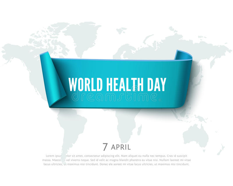 Health day concept with green paper ribbon banner, world map and text, realistic vector background stock illustration