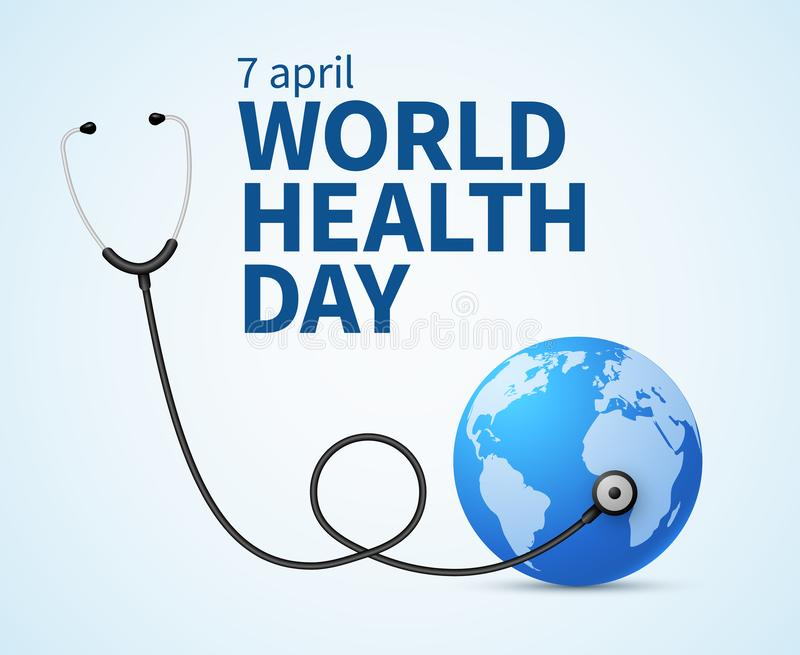 Health day. Wellness, health protection and global medicine healthcare vector poster stock illustration