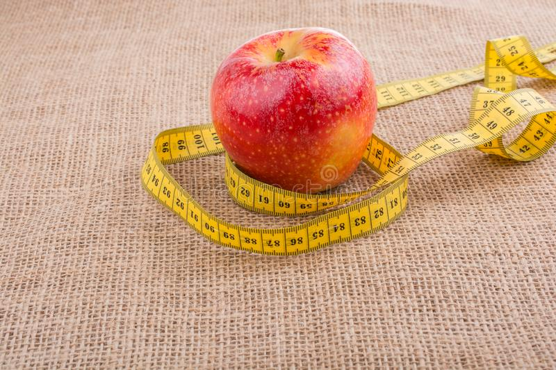 Red apple with a measurement tape on it stock images