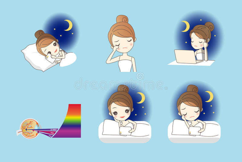 Health Eye Care concept. Cartoon girl use smart phone, digital tablet pc and computer at night, and her eyes feel uncomfortable, Health Eye Care concept vector illustration