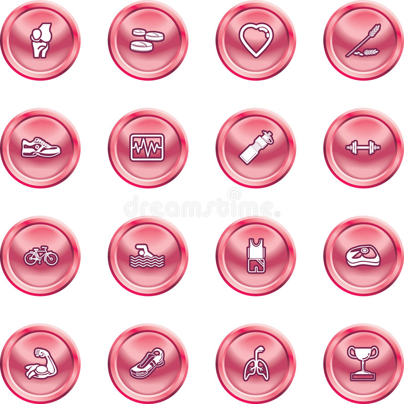Health And Fitness Icon Set Stock Photos