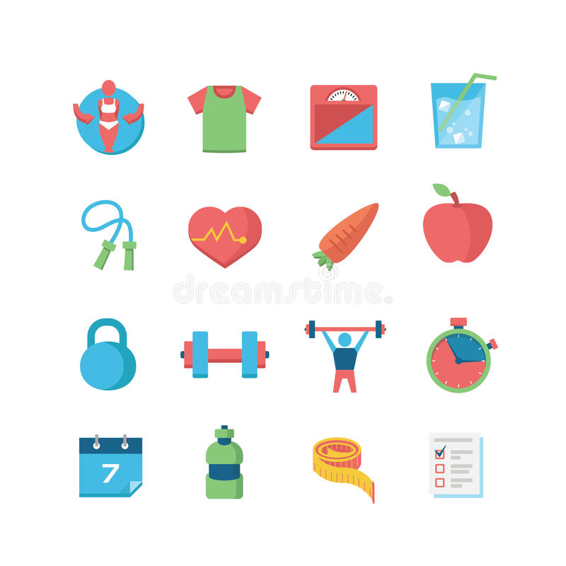 Health & Fitness Icons vector illustration