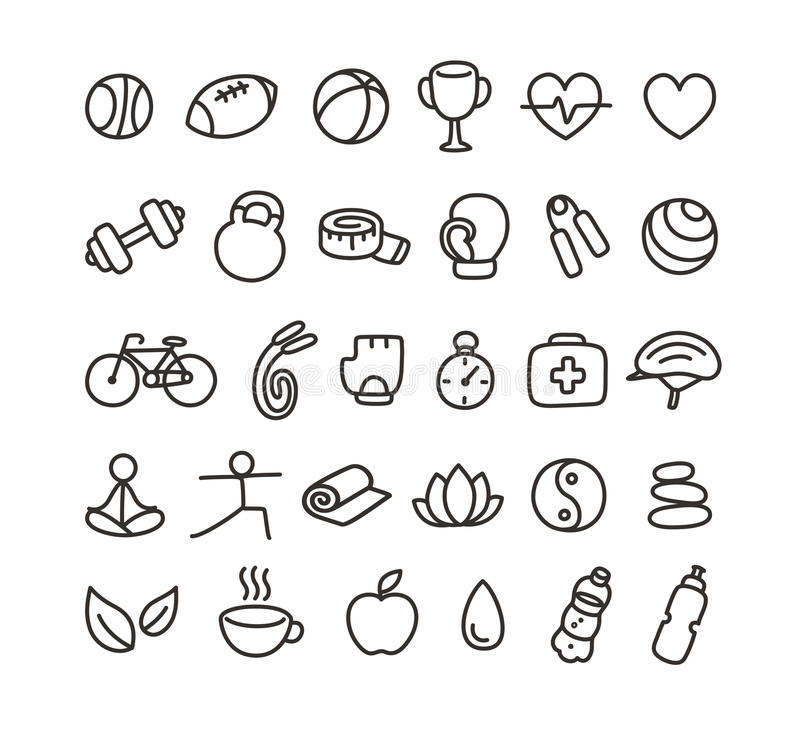 Health and fitness icons stock illustration