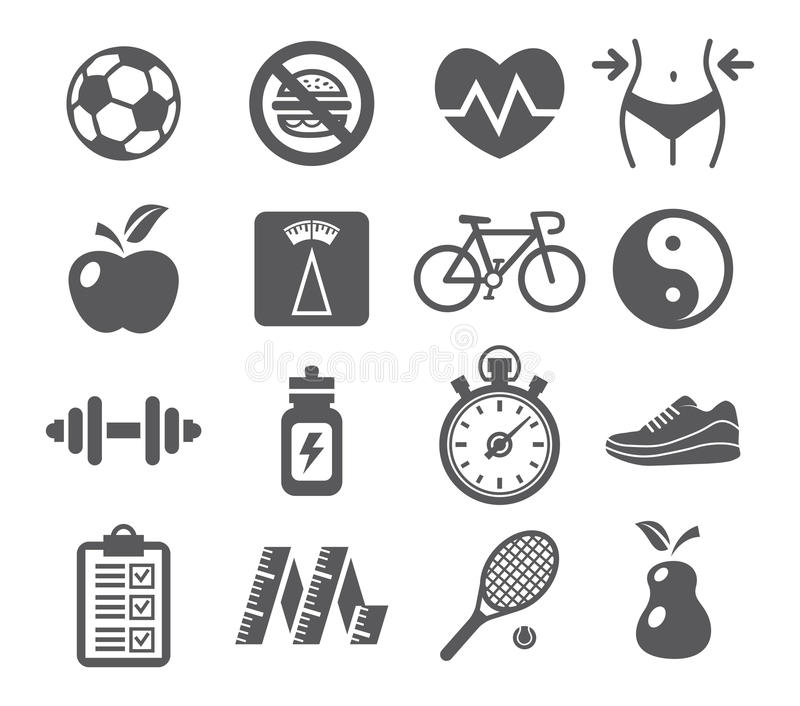 Health And Fitness Icons Stock Vector
