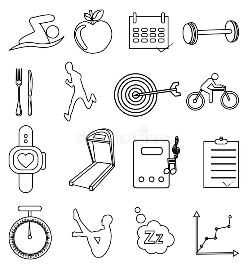 Health fitness line icons set stock illustration