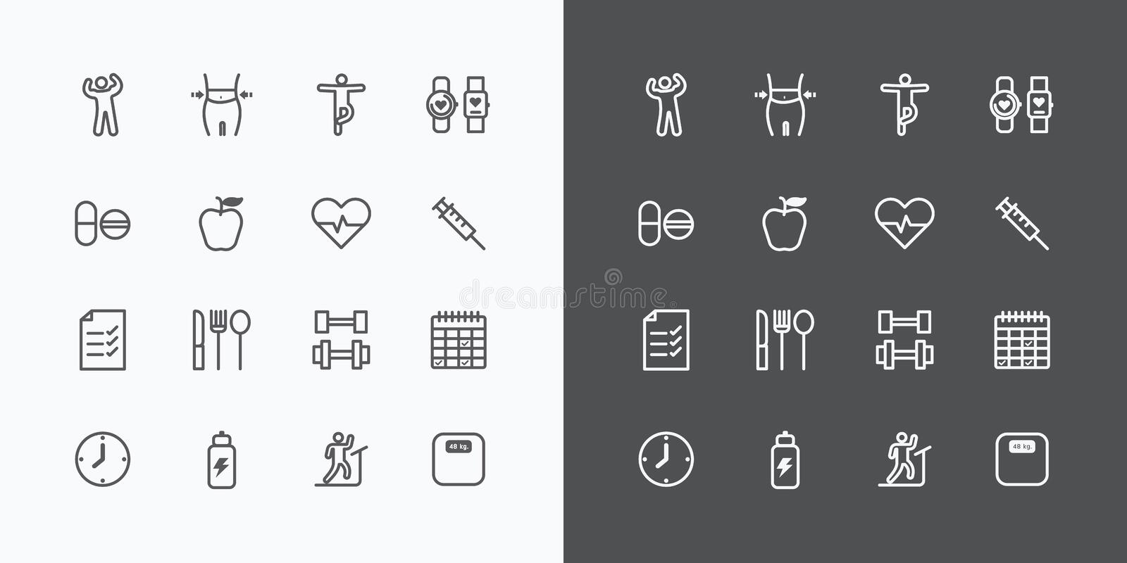 Health and Fitness silhouette icons flat line design vector . stock illustration