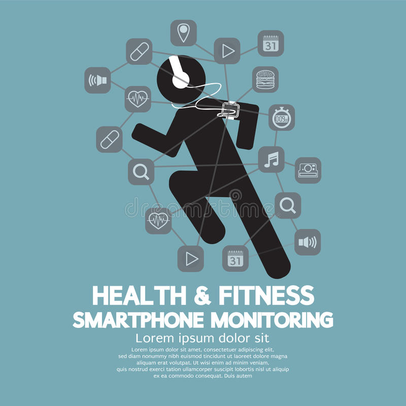 Health And Fitness Smartphone Monitoring royalty free illustration