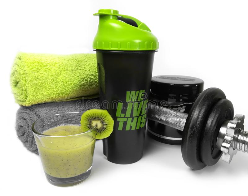 Health and fitness stuff with fruits and weights stock photos