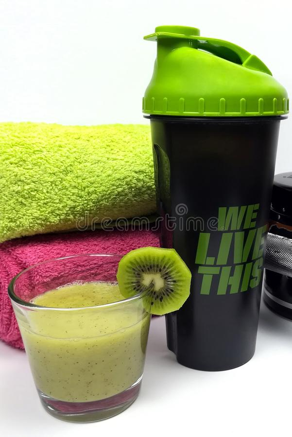 Health and fitness stuff with fruits and weights royalty free stock photography