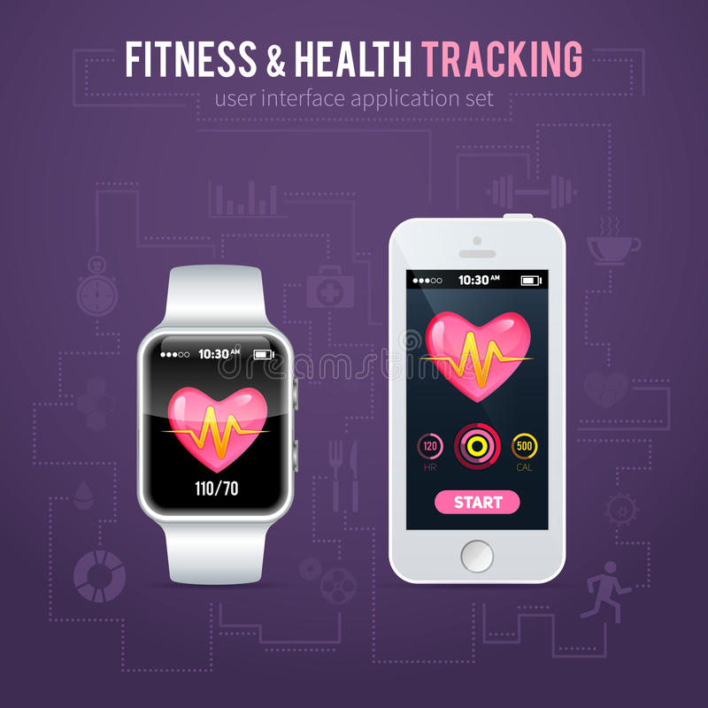 Health fitness tracker interface for smart watch and phone stock illustration