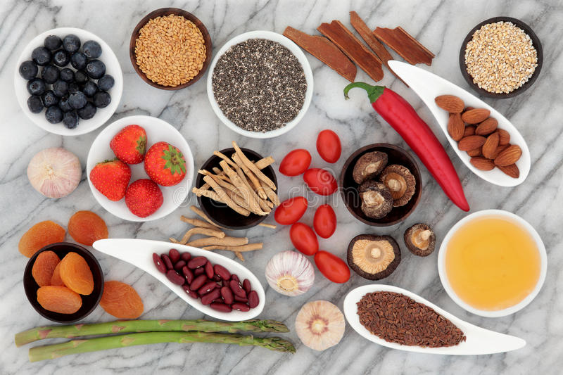 Health Food. Selection over a marble background royalty free stock image