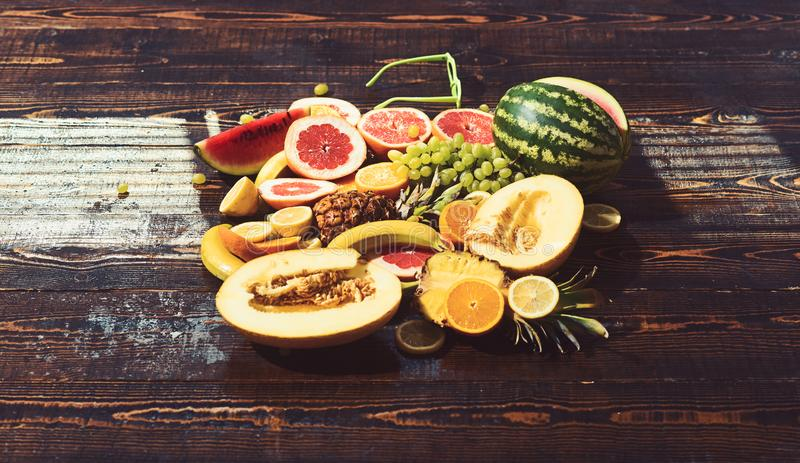 Health food for healthy diet with watermelon and melon at banana and pineapple and citrus fruits. Health food concept royalty free stock images