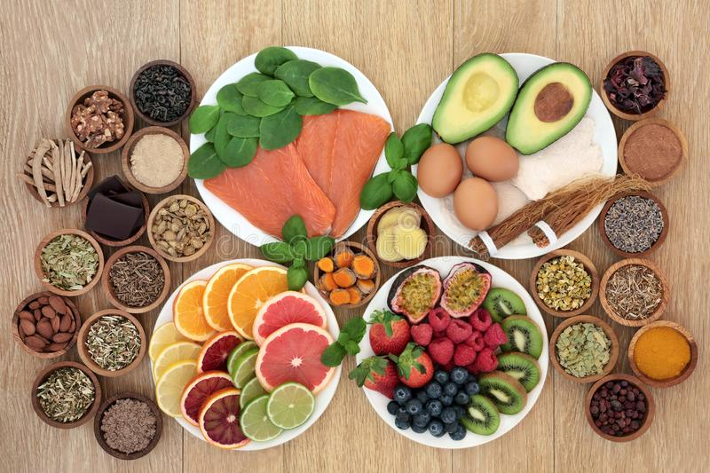 Health Food to Reduce Stress and Anxiety stock image