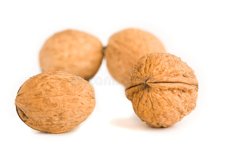 Health food walnut snack on isolated background. Nutshell stock images