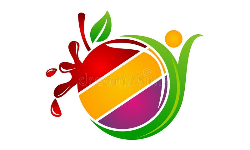 Health Fruit Juice. Logo Design Template Vector stock illustration