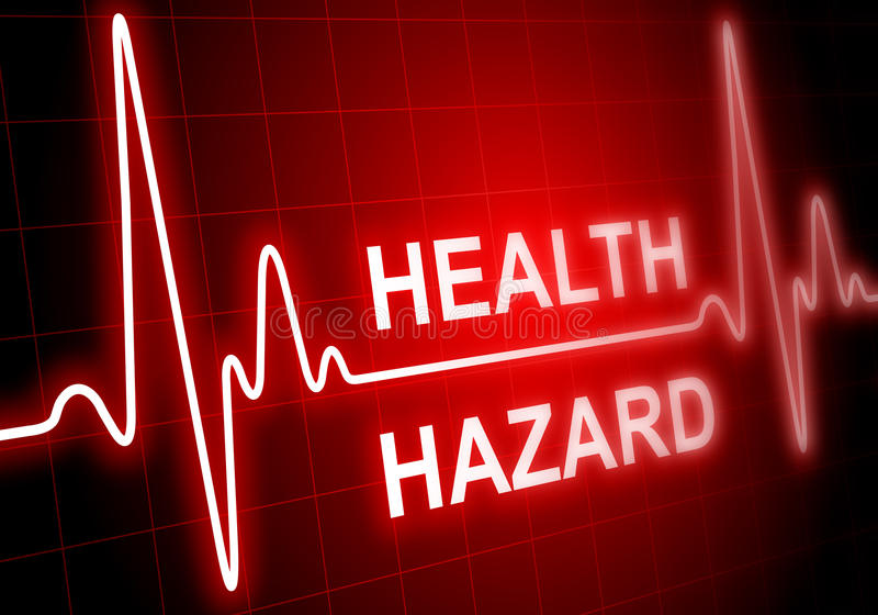HEALTH HAZARD - written on red heart rate monitor. Expressing warning on heart condition stock illustration
