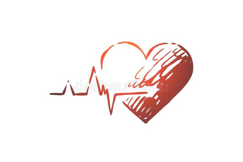 Health, heart, care, heartbeat, cardiogram concept. Hand drawn isolated vector. Health, heart, care, heartbeat, cardiogram concept. Hand drawn heart as symbol vector illustration