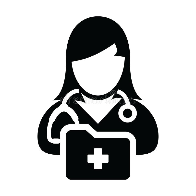 Health icon vector female doctor person profile avatar with stethoscope and medical report folder for medical consultation. In Glyph pictogram illustration royalty free illustration