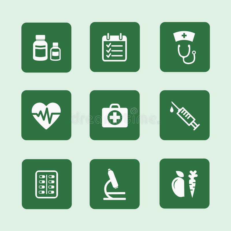 Health icons set royalty free illustration