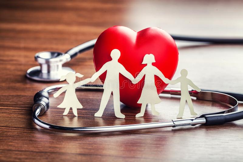 Health. Insurance aid cardiogram care chain check stock image