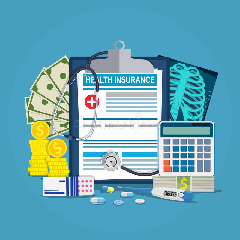 Health insurance calculation concept. Stethoscope, drugs, money, calculator, thermometer, x-ray Vector illustration in flat style vector illustration