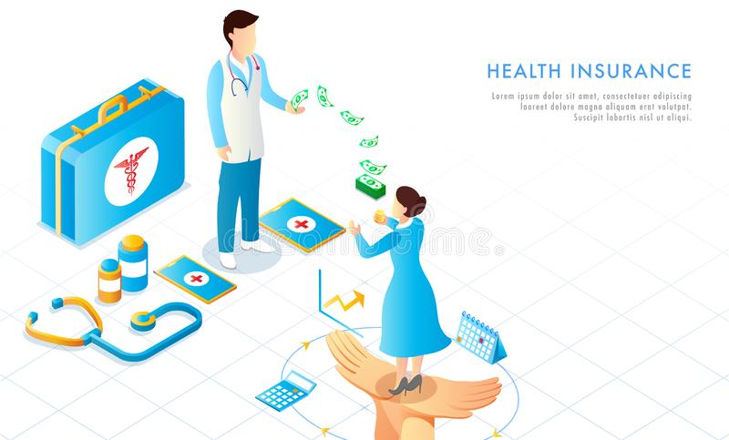 Health Insurance concept based web template design with isometric medical equipments, lady invest her money to medical insurance. For protection of future royalty free illustration