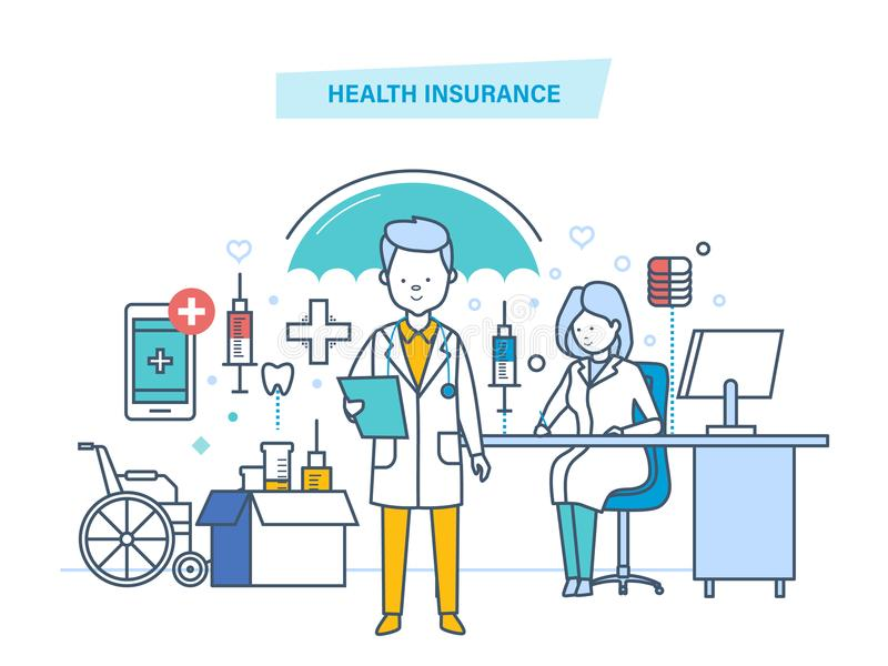 Health insurance concept. Life and accident medical insurance. Modern medicine, medical care, healthcare, protect and guarantee safety patients, first aid stock illustration