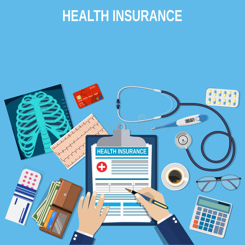 Health insurance concept. Man fills in the form of health insurance. Healthcare concept. Vector illustration flat design. Medical equipment, money, Stethoscope stock illustration