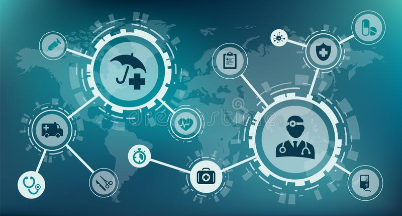 Health insurance concept / modern health care business / urgent care concept – vector illustration royalty free illustration